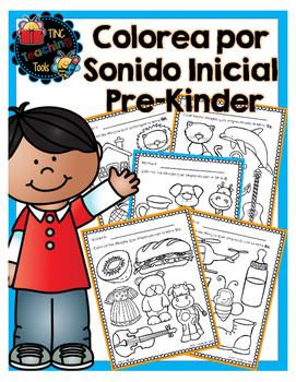 Colorea por sonido inicial: Pre-Kinder / Color by Initial Sound: Pre-K
