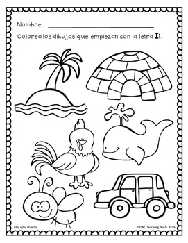 Colorea por sonido inicial: Pre-Kinder / Color by Initial Sound: Pre-K