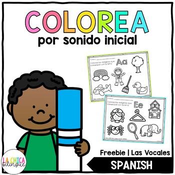 Colorea las Vocales por Sonido Inicial (Spanish Color by Beginning Sound)