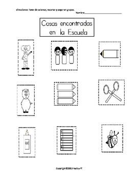 Colorear, Recortar Y Pegar en Grupos School Sorting Activity