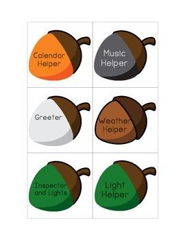 Colored Acorn Helper Chart Cards