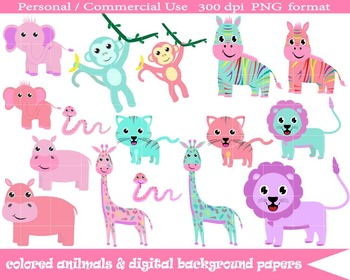 Colored Animals & Background Digital Papers- Instant Download Graphics