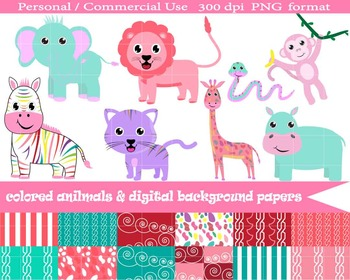 Colored Animals & Background Digital Papers- Instant Downl