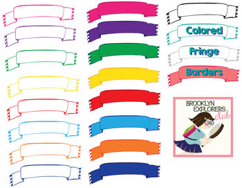 Colored Banner With Fringe - 20 PNG FILES