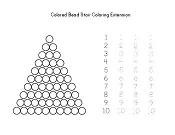 Colored Bead Stair Montessori Math Worksheet