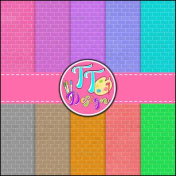 Colored Brick Digital Background Papers {8.5 x 11} Clip Art CU OK