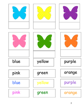 Colored Butterfly Unit for Special Education