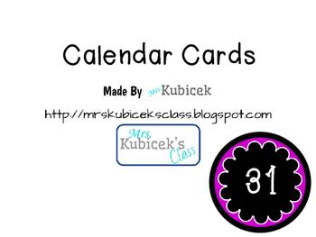 Colored Calendar Cards