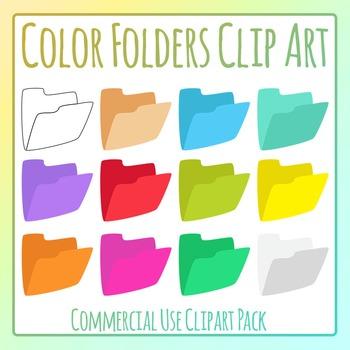 Colored Cardboard Folders / Filing / Manila Folders Clip Art Commercial Use