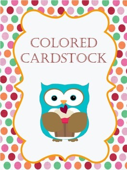*Colored Cardstock Cute Owl Binder Cover!*