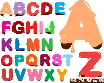 Colored Chocolate Alphabet clip art school dark food Choco Sweet ABC letters 170