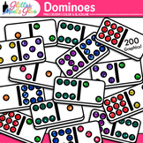 Dominoes Clip Art | Rainbow Glitter Math Manipulatives for Center Activities