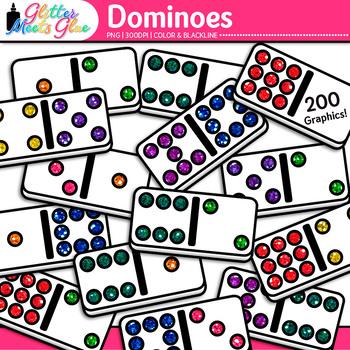 Dominoes Clip Art | Rainbow Glitter Math Manipulatives for Center Activities