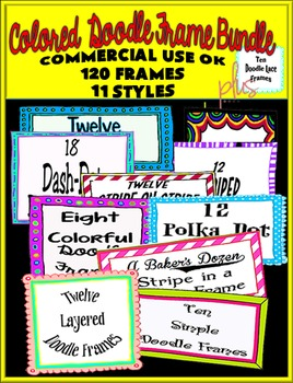 Colored Doodle Frame Bundle-Commercial Use