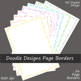 Colored Doodle Page Borders Clip Art for TPT Sellers