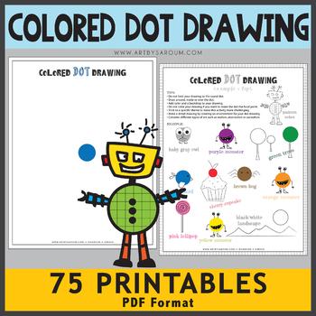 Colored Dot Drawing Printables (Bonus 5 Pattern Dot Printables)
