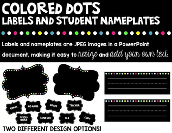 Colored Dots Labels and Student Nameplates