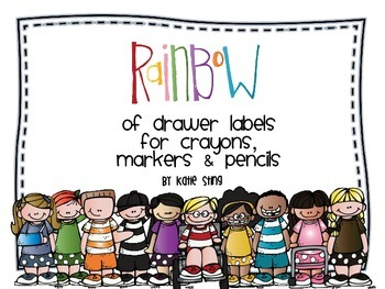 Colored Drawer Labels: for crayons, markers and pencils