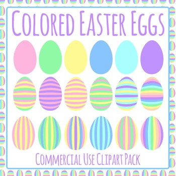 Colored Easter Eggs Pastel Commercial Use Clip Art Set