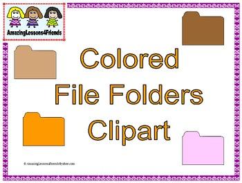 Colored File Folders Clipart