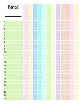Colored Grade Sheets Grade Book
