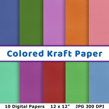 Colored Kraft Digital Paper, Kraft Paper Background, Printable Scrapbook Paper