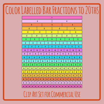 Colored Labelled Bar Fractions to 20 Clip Art Set Commercial Use