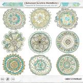 Mandala ClipArt, Circle Medallions, Bohemian Decorative Design Accent