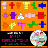 Colored Nets Prisms and Pyramids clip art