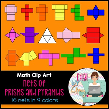 Colored Nets - Prisms and Pyramids clipart