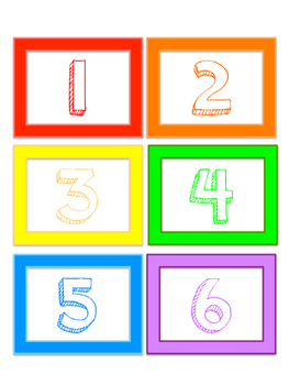 Colored Number Cards 1 - 100