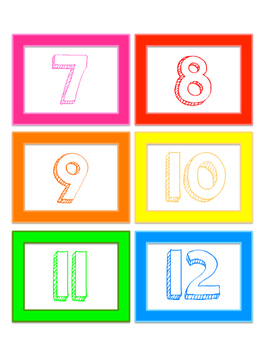 Colored Number Cards