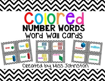 Colored Number Words Word Wall Cards