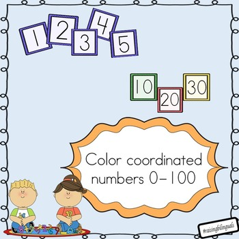 Colored Numbers (1-100) counting by 10