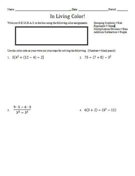 Colored Order of Operations