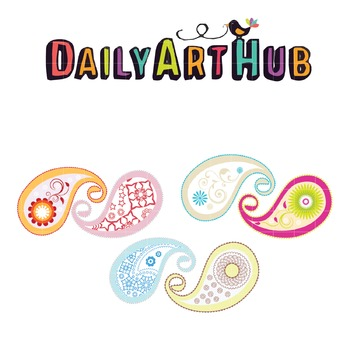 Colored Paisley Clip Art - Great for Art Class Projects!