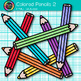 Colored Pencil Clip Art {Rainbow Glitter Back to School Supplies for Teachers} 2