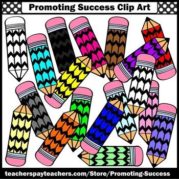 Colored Pencil Clipart, Back to School Supplies Clip Art Chevron Classroom SPS