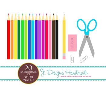 Colored Pencil Set - Clipart - Scissors- Earser