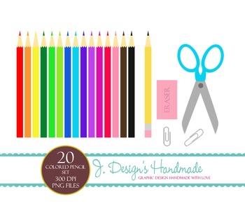 Colored Pencil Set - Clipart - Scissors- Earser