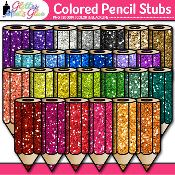 Colored Pencil Stubs Clip Art {Rainbow Back to School Supplies for Brag Tags}