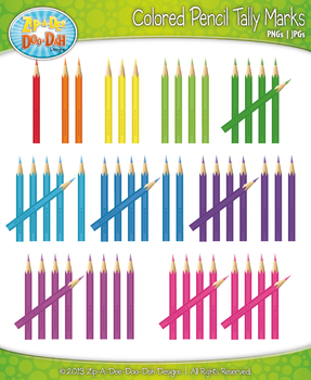 Colored Pencil Tally Marks Clipart — Fun & Bright Rainbow Colors!