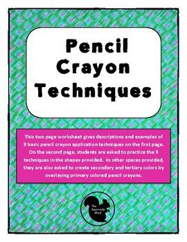 Colored Pencil Techniques Art Worksheet