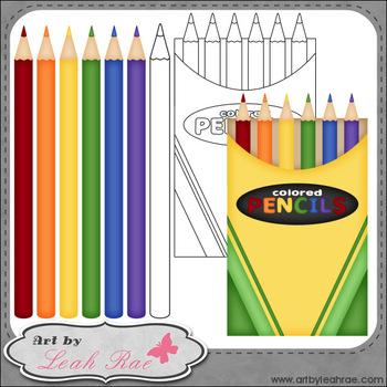 Colored Pencils 1 - Art by Leah Rae Clip Art & Line Art / Digi Stamps
