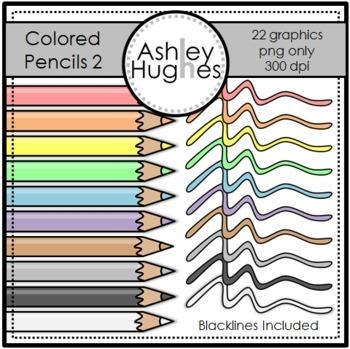 Colored Pencils 2 Clipart {A Hughes Design}