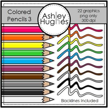 Colored Pencils 3 Clipart {A Hughes Design}