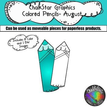 Colored Pencils August Clip Art –Chalkstar Graphics