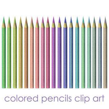 Colored Pencils Clip Art - Pastel