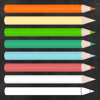 Colored Pencils Clipart - 27 Colors - Transparent Backgrounds - High Resolution