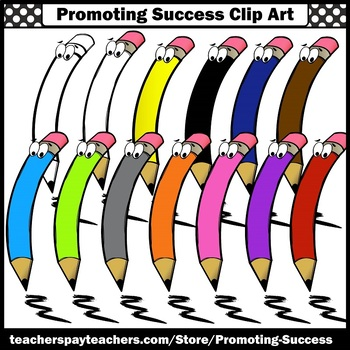 Colored Pencils Clipart, Back to School Supplies Clip Art For Commercial Use SPS
